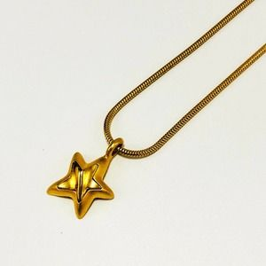"""18"""" Snake Chain 3D Star Pendant Gold Tone Necklace"""